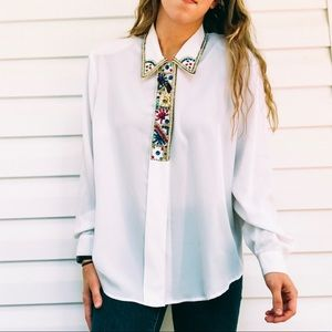 Vintage Jeweled White Button Down